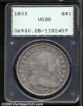 Early Dollars: , 1803 $1 Large 3 VG8 PCGS. B-6, BB-255, R.1. The base of ...