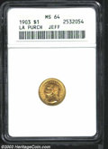 Commemorative Gold: , 1903 G$1 Louisiana Purchase/Jefferson MS64 ANACS. A well ...