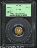 Commemorative Gold: , 1905 G$1 Lewis and Clark MS64 PCGS. This lustrous near-...