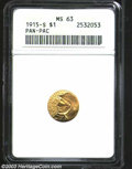 Commemorative Gold: , 1915-S G$1 Panama-Pacific Gold Dollar MS63 ANACS. A ...