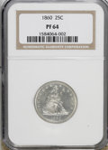 Proof Seated Quarters: , 1860 25C PR64 NGC. . NGC Census: (32/21). PCGS Population (43/22).Mintage: 1,000. Numismedia Wsl. Price for NGC/PCGS coin ...