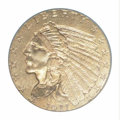 Indian Quarter Eagles: , 1911-D $2 1/2 MS62 PCGS. Satiny with a light accent of ...