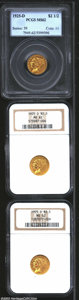 1925-D $2 1/2 MS62 PCGS, a golden-brown piece with exquisite details; 1925-D MS62 NGC, well struck and faintly prooflik...
