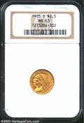 1925-D $2 1/2 MS63 NGC. Medium orange gold is viewed atop the surfaces of this well struck and appropriately graded quar...