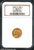 1925-D $2 1/2 MS63 NGC. Bright yellow-gold color and a pleasing coin with the marks that limit the grade mostly located...