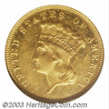 Three Dollar Gold Pieces: , 1873 $3 Closed 3 MS60 NGC. In a challenging series known ...