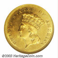 Three Dollar Gold Pieces: , 1881 $3 MS63 NGC. This pretty $3 has reflective surfaces ...