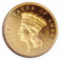 Proof Three Dollar Gold Pieces: , 1876 $3 PR65 Cameo NGC. The proof-only status of the 1876 ...