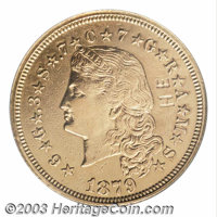 1879 $4 Flowing Hair, Judd-1635, Pollock-1832, 1833, R.3, 6, Impaired Proof, Obverse Graffiti, Polished, NCS. A bright...