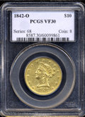 Liberty Eagles: , 1842-O $10 VF30 PCGS. The devices have the sharpness and ...