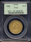 Liberty Eagles: , 1860 $10 VF25 PCGS. The devices appear to have the ...