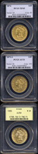 Liberty Eagles: , 1874 $10 XF45 PCGS, richly detailed and with much luster, ... (3coins)