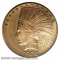 Indian Eagles: , 1908-D $10 Motto MS66 PCGS. Because of its rather hefty ...