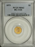 California Fractional Gold, 1875 $1 Indian Octagonal 1 Dollar, BG-1126, R.5, MS62 PCGS....