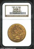 Liberty Double Eagles: , 1875-CC $20 MS60 NGC. A well struck Carson City Double ...