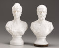 Decorative Arts, Continental:Other , A Pair of Cast Glass Busts of Nicholas and Alexandra. Circa1900. Tsar Nicholas II (r.1896-1917) in military uniform o...(Total: 2 Items)