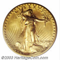 High Relief Double Eagles: , 1907 $20 High Relief, Flat Rim MS64 PCGS. A lovely near-...