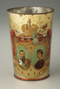 Decorative Arts, Continental:Other , Imperial Russian Nicholas and Alexandra Tin Coronation Beaker.1896, St. Petersburg. The tin beaker decorated on one s...