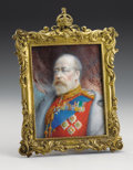 Decorative Arts, Continental:Other , Royal Portrait of Edward VII as Prince of Wales . Circa1900. Pastel, showing the Monarch in red full-dress uniformad...