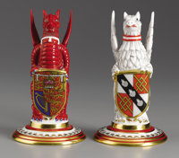 """Pair of Royal Minton """"Beasts"""" Commemorating the Royal Wedding of Prince Charles and Lady Diana Spencer in 1981..."""