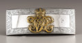 Silver Smalls:Other , British George V Silver Cartridge Box. Birmingham, 1925.Applied with crowned initials, leather pouch missing-7 ¼ in. ...