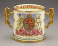 Ceramics & Porcelain, British:Other , Minton George VI and Queen Elizabeth Porcelain Royal Visit Cup .1939. Cylindrical, a loving cup commemorating the Kin...