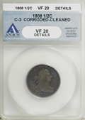 1808 1/2 C --Cleaned, Corroded--ANACS. VF20 Details. C-3 . NGC Census: (1/46). PCGS Population (4/68). Mintage: 400,000...