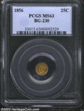 California Fractional Gold: , 1856 25C Liberty Round 25 Cents, BG-230, Low R.4, MS63 PCGS....