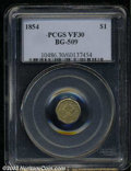 California Fractional Gold: , 1854 $1 Liberty Octagonal 1 Dollar, BG-509, R.6, VF30 PCGS.