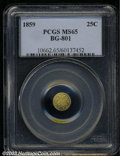 California Fractional Gold: , 1859 25C Liberty Round 25 Cents, BG-801, R.3, MS65 PCGS. ...