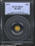 California Fractional Gold: , 1870 25C Liberty Round 25 Cents, BG-808, R.3, MS65 PCGS. ...