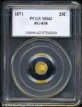 California Fractional Gold: , 1871 25C Liberty Round 25 Cents, BG-838, R.2, MS62 PCGS. ...