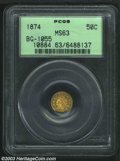 California Fractional Gold: , 1874 50C Indian Round 50 Cents, BG-1055, High R.4, MS63 ...