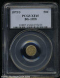 California Fractional Gold: , 1875/3 50C Indian Round 50 Cents, BG-1058, R.3, XF45 PCGS.