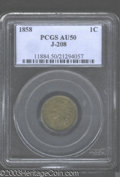 1858 P1C Indian Cent, Judd-208, Pollock-259, R.4, AU50 PCGS. An Indian Cent pattern with the adopted design of 1859, but...