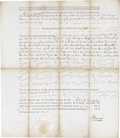 "Autographs:Statesmen, Patrick Henry Document Signed, ""P. Henry, partially printed,one page, Richmond, Virginia, December 2, 1785. This land g..."