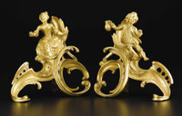 A Pair of Louis XV Style Gilt Bronze Chenets  Unknown, French Late 19th Century Gilt bronze 10.25 inches high  Each w