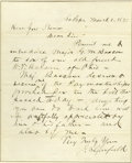 "Autographs:U.S. Presidents, James Garfield Autograph Letter Signed ""J. A. Garfield"". One page, lined paper, 7.5"" x 9.5"", House of Representatives, M..."