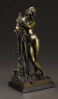 Paintings, A Bronze Figural Sculpture, Lesbie. Attributed to Jean Jacques Pradier (1792-1852), French. Bronze with brown patina. ...