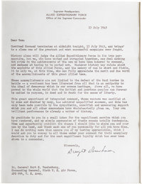 """Dwight D. Eisenhower Typed Letter Signed """"Dwight D. Eisenhower"""" as Supreme Commander, July 13, 1945, one page..."""