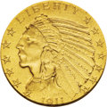 Proof Indian Half Eagles: , 1911 $5 PR66 NGC. This is a finely grained Gem matte proof example with the usual mustard-yellow color of the date, accente...