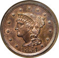 Proof Large Cents: , 1854 1C PR66 Red and Brown NGC. N-12. Probably High R.5 as a proof.This is an excellent example with considerable light or...