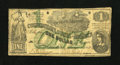 Confederate Notes:1862 Issues, T45 $1 1862. A touch of roughness is seen along the right margin. Afew holes are noticed. Fine....