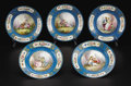 Ceramics & Porcelain, A Set of Five Sèvres Style Plates. Unknown maker, France. Late Nineteenth Century. Porcelain with polychrome enamel and gi... (Total: 5 )