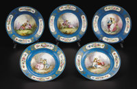 A Set of Five Sèvres Style Plates  Unknown maker, France Late Nineteenth Century Porcelain with polychrome enamel...