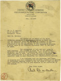 Movie/TV Memorabilia:Autographs and Signed Items, Cecil B. DeMille Signed Letter. A single-page, typed letter onDeMille's business letterhead, dated December 12, 1927, with ...