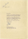 Movie/TV Memorabilia:Autographs and Signed Items, Bing Crosby Signed Letter. A single-page letter on personal stationery, dated August 14, 1977 (two months before his death),...