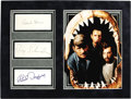 """Movie/TV Memorabilia:Autographs and Signed Items, """"Jaws"""" Cast Autograph Display. Includes autographs from RobertShaw, Roy Scheider, and Richard Dreyfuss, handsomely matted w..."""
