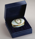 Royal Memorabilia:British, Princess Diana Halcyon Days Porcelain Presentation Box. Oval,overall decorated with pale green lattice design, the sides ...(Total: 2 Items)