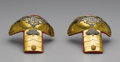Royal Memorabilia:Other, Pair of Spanish Brass Epaulettes. Early 20th century. Eachapplied with a royal crown above entwined initials of Alfon...(Total: 2 Items)